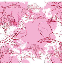 seamless pattern of flowers peonies on a white vector image