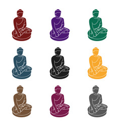 Sitting buddha icon in black style isolated o vector