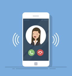 smartphone or mobile phone call or vibrate with vector image vector image