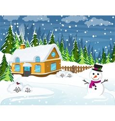 Snow covered country house vector image