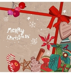 Square festive frame with Christmas objects vector image vector image