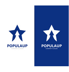 Star and arrow up logo combination vector