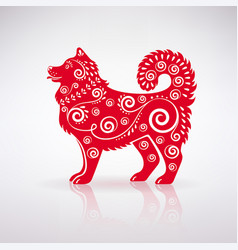 stylized red dog with ornament vector image vector image