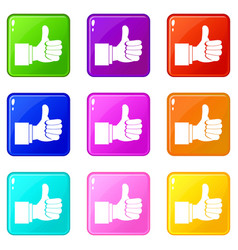 Thumb up gesture icons 9 set vector