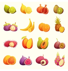 Tropical fruits retro cartoon icons set vector