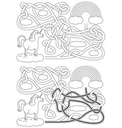 Unicorn maze vector