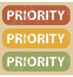 Vintage priority stamp set vector