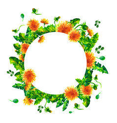watercolor spring flowering branches dandelion vector image vector image