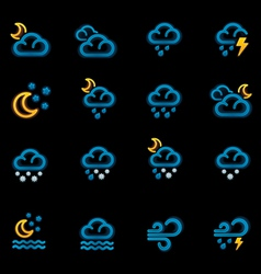 weather forecast icons - night vector image