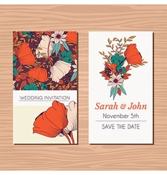 Wedding invitation card with hand drawn flowers vector image
