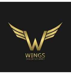 Wings w letter logo vector