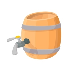 Wooden barrel of beer with a tap cartoon icon vector
