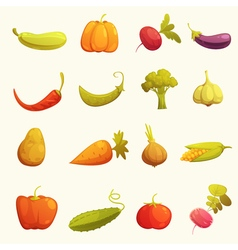 Vegetables icons set flat retro vector
