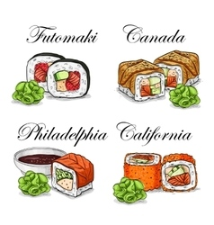 Sushi color sketch set vector
