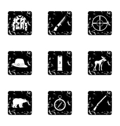 Hunting icons set grunge style vector