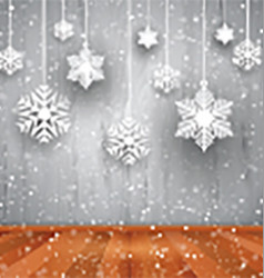 Christmas background of hanging snowflakes vector image