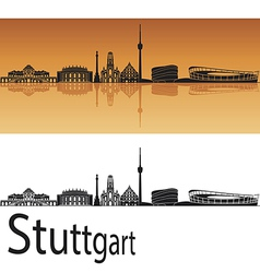 Stuttgart skyline in orange background vector