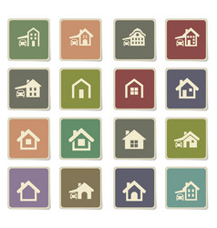 house type icon set vector image