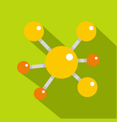 Yellow molecular model icon flat style vector