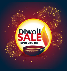 festival diwali sale banner with fireworks and vector image