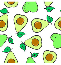 Collection fruit avocado pattern style vector