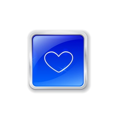 Heart icon on blue button vector