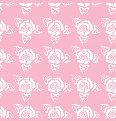 Rose with leaf seamless pattern vector