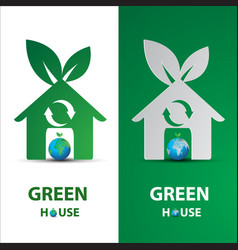 Paper art of green my house logo with eco concept vector