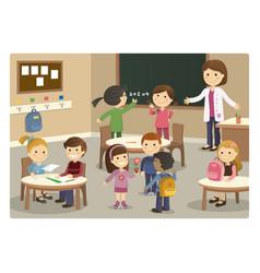 Pupils and teacher starting class at school vector