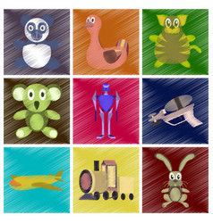 Assembly flat shading style icons kids toys vector