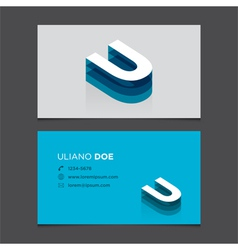 Business card letter u vector