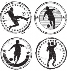 Soccer player stamps vector