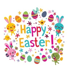 Cute happy easter greeting card vector