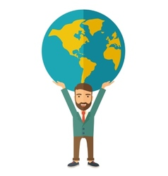 Businessman carrying big globe vector