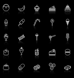 Dessert line icons with reflect on black vector