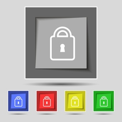 Lock icon sign on original five colored buttons vector