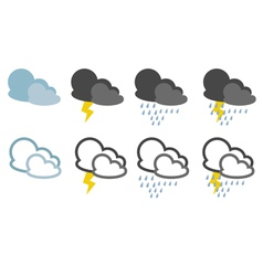 Icons with rainy weather vector