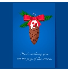 Christmas tree decoration pinecone greeting card vector