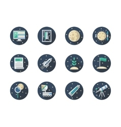 Space expedition color round flat icons vector