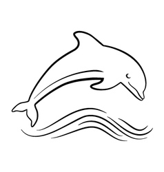Outline of jumping dolphin vector