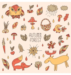 Autumn forest set vector