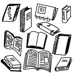 Books sketch collection vector image