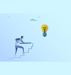 Business man drawing on stairs up to light bulb vector