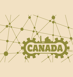 canada word build in gear vector image vector image