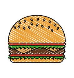 Color crayon stripe cartoon big bread hamburger vector