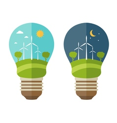 concept of lamp with icons of ecology environment vector image