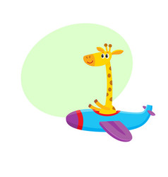 Cute funny giraffe pilot character flying on vector