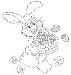 Easter Bunny with a basket of eggs vector image