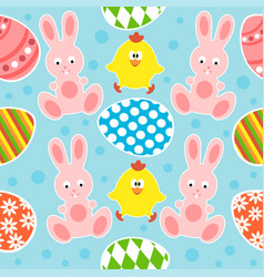 Easter seamless background with funny rabbits and vector