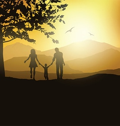 Family walking in the countryside vector image vector image